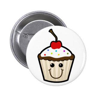 Cupcake Smile Face Pinback Buttons