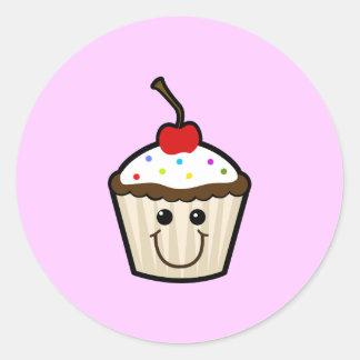 Cupcake Smile Face Classic Round Sticker