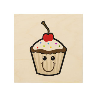 Cupcake Smile Face Wood Wall Art