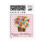 Cupcake Spring Flowers Birthday Greeting Stamps Postage Stamps