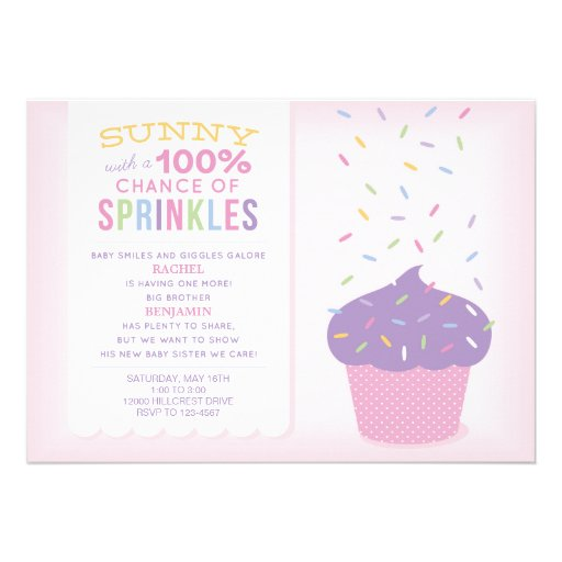 Cupcake Sprinkles Baby Shower Invitation