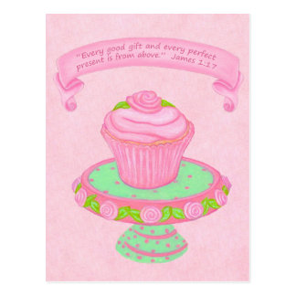 Cupcake Stand~Good Gift Scripture Postcard