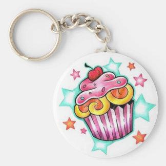 Cupcake STAR Basic Round Button Keychain