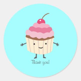 Cupcake Sticker Cute Happy Cupcake Thank you Favor