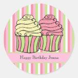 Cupcake Stripes Birthday Label Sticker