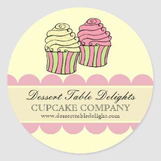 Cupcake Stripes Business Advertising Website Classic Round Sticker