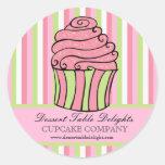Cupcake Stripes Business Advertising Website Classic Round Sticker