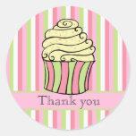 Cupcake Stripes Thank You Label Sticker