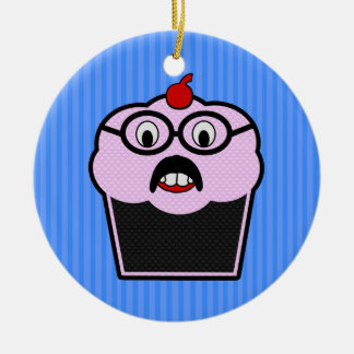 Cupcake Studmuffin Double-Sided Ceramic Round Christmas Ornament