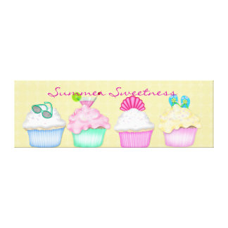 Cupcake Summer Sweetness Canvas Wrap Around Gallery Wrapped Canvas