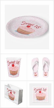 Cupcake Sweet 16 Party Supplies