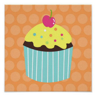 Cupcake Sweet Girls Nursery Wall Art prints Poster
