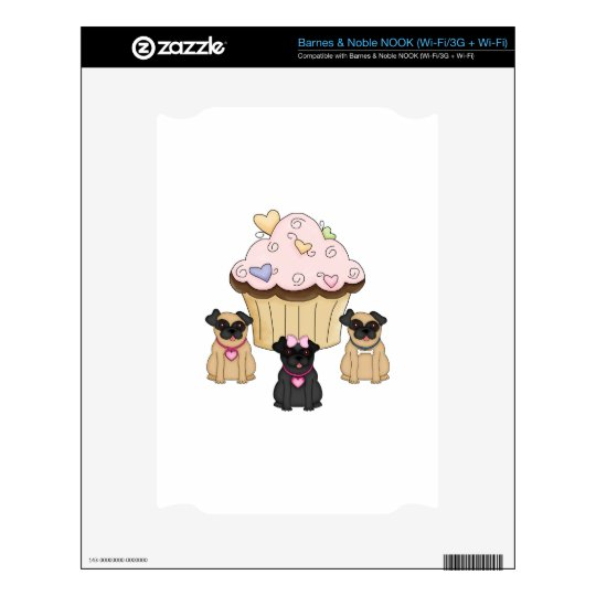 Cupcake Sweet Pug Dogs Decals For NOOK