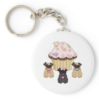 Cupcake Sweet Pug Dogs Keychains