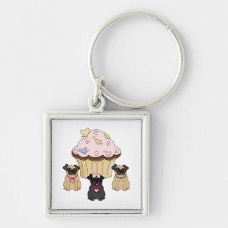 Cupcake Sweet Pug Dogs Keychain