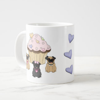 Cupcake Sweet Pug Dogs Large Coffee Mug