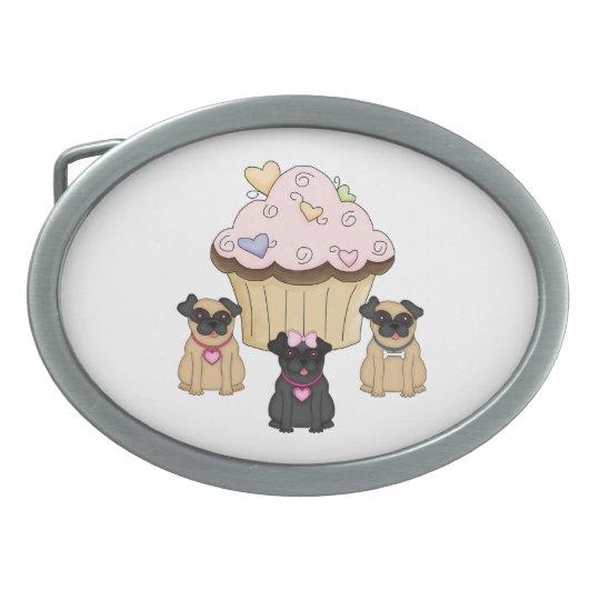 Cupcake Sweet Pug Dogs Oval Belt Buckle