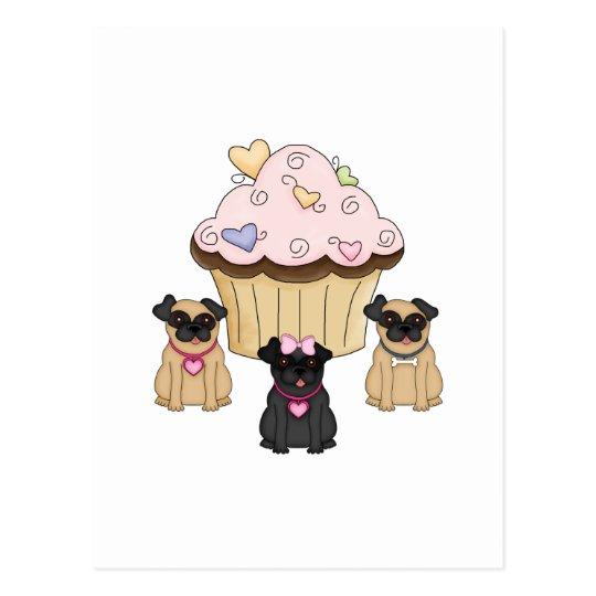 Cupcake Sweet Pug Dogs Postcard