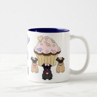 Cupcake Sweet Pug Dogs Two-Tone Coffee Mug