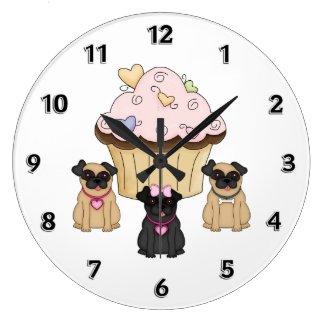 Cupcake Sweet Pug Dogs Wallclocks
