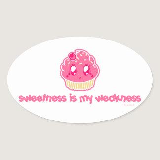 Cupcake-Sweetness is my Weakness Oval Sticker