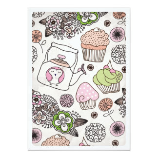 Cupcake tea coffee flower birthday invitation