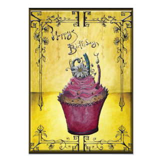Cupcake tea party invite yellow