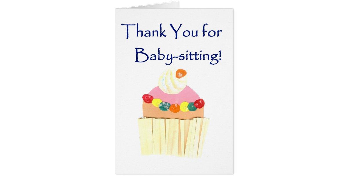 cupcake  u0026 39 thank you for babysitting u0026 39  card