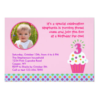 Cupcake Third Birthday Party Photo Invitation