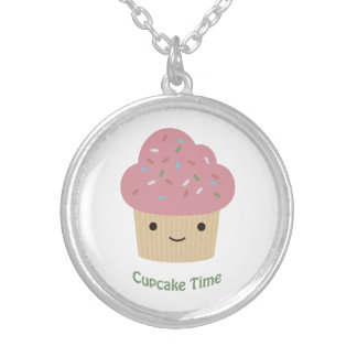Cupcake Time! Cute Pink Cupcake Silver Plated Necklace