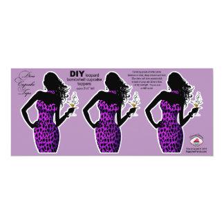 CUPCAKE TOPPER Diva Glam Bombshell Leopard purple 4x9.25 Paper Invitation Card