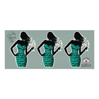 CUPCAKE TOPPER Diva Glam Leopard - aqua 4x9.25 Paper Invitation Card