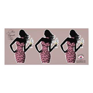 CUPCAKE TOPPER Diva Glam Leopard - pink 4x9.25 Paper Invitation Card