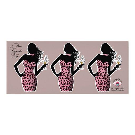 CUPCAKE TOPPER Diva Glam Leopard - pink Announcements