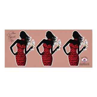 CUPCAKE TOPPER Diva Glam Leopard - red 4x9.25 Paper Invitation Card
