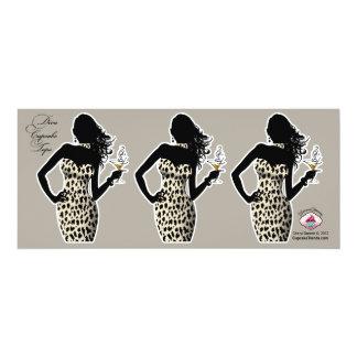 CUPCAKE TOPPER Diva Glam Snow Leopard - white 4x9.25 Paper Invitation Card