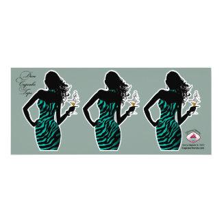 CUPCAKE TOPPER Diva Glam Zebra - aqua 4x9.25 Paper Invitation Card