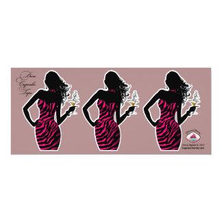 CUPCAKE TOPPER Diva Glam Zebra - fuschia 4x9.25 Paper Invitation Card