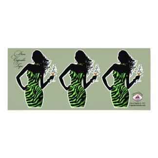 CUPCAKE TOPPER Diva Glam Zebra - lime green 4x9.25 Paper Invitation Card