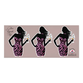 CUPCAKE TOPPER Diva Glam Zebra - pink 4x9.25 Paper Invitation Card