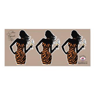 CUPCAKE TOPPER Diva Glam Zebra - pumpkin 4x9.25 Paper Invitation Card