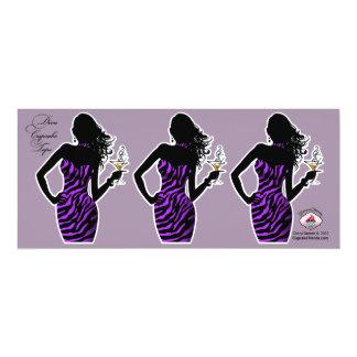 CUPCAKE TOPPER Diva Glam Zebra - purple 4x9.25 Paper Invitation Card