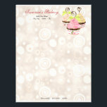 """Cupcake Trio w/ Heart Business Cream Stationery<br><div class=""""desc"""">Sweet and Contemporary! This business card design features three hand painted decorated chocolate cupcakes topped with swirls and hearts. They are resting in decorated cupcake holders. The background is a soft tan, textured watercolored circles and dots contemporary pattern. On the reverse side is a single sprinkle-topped cupcake and your contact...</div>"""