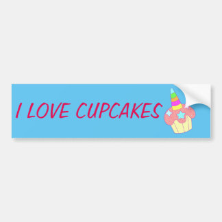 cupcake unicorn bumper sticker