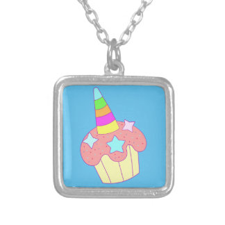 cupcake unicorn silver plated necklace