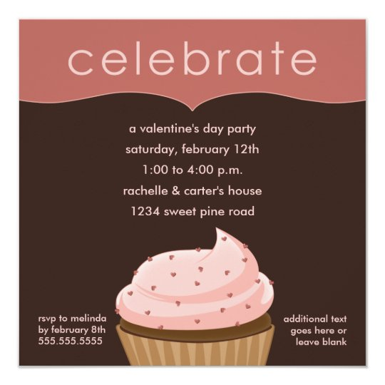 Cupcake Valentine's Day Party Invitations