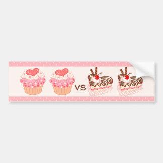 Cupcake VS Cheesecake Car Bumper Sticker