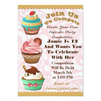 Cupcake Wars Bake Off Birthday Pink Swirl Invite