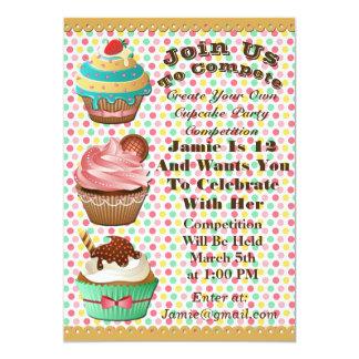 Cupcake Wars Bake Off Birthday Polka Dot Invite