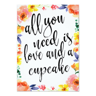 Cupcake Wedding Dessert Affordable Floral Sign Card